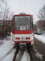 tw-171/11269/tw-171-am-220209-in-der Tw 171 am 22.02.09 in der Schleife Sandow .